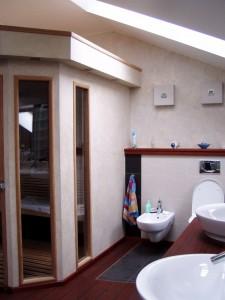 Portfolio realizacja prywatna, sauna w łazience